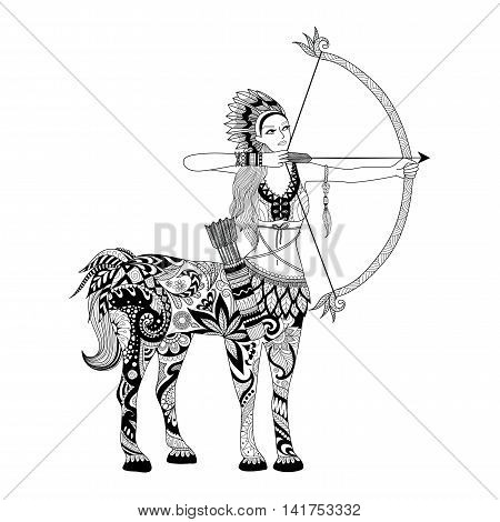 Doodle design of centaur girl for adult coloring book and other decorations - Stock vector