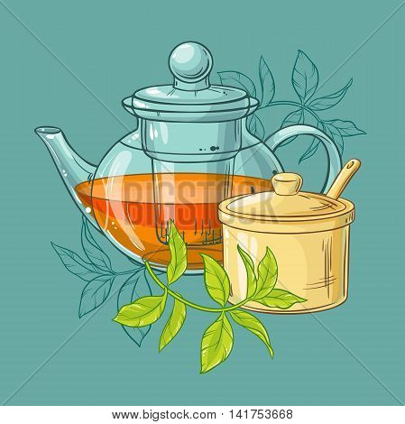 Illustration with teapot sugar bowl and tea leaves on color background