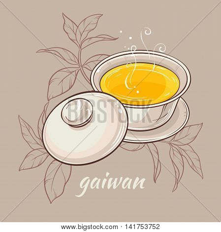 vector illustration with gaiwan on color background