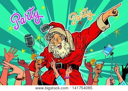 Christmas party Santa Claus singer, pop art retro vector illustration