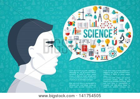 Male Scientist with Speech Bubble Science and Laboratory Research Icons. Place for Your Text. Flat design Vector illustration. Scientific Concept for Web Banners and promotional materials.