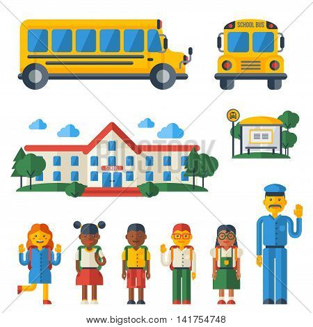 Back to School Icons Set. Vector Flat Style Illustration. College Building, Yellow Bus, Driver and Cute Kids Characters.