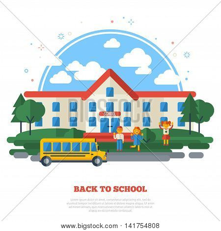School Building, Yellow Bus on Road and Funny Kids in the Yard. Education Flat Style Concept Isolated on White. Vector Illustration.