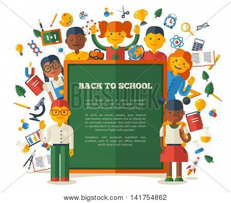 Funny Kids Show Green Chalkboard with Place for Text. Vector Illustration. Back to School Concept Poster. Education and Science Flat Icons.