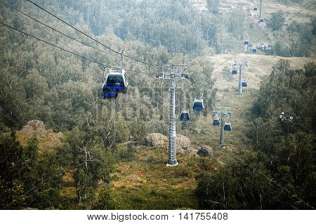 cable car in mountains in summer ski resort