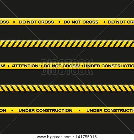 Police line. Do not cross under construction. Vector crime scene background. Danger tapes set