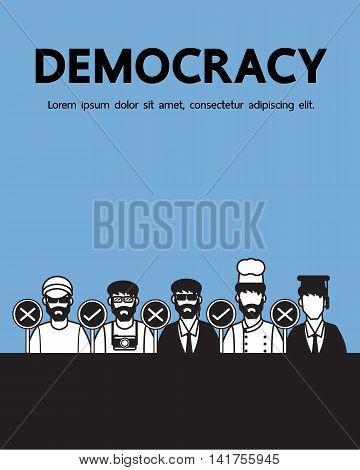 Democracy , vector cartoon people design .