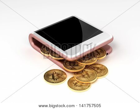 Concept Of Pink Virtual Wallet And Bitcoins. 3D Illustration.