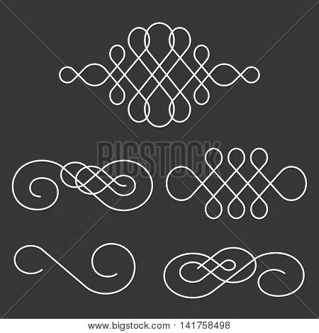 swoosh line and divider calligraphy style, vintage and retro style for decorative card and poster