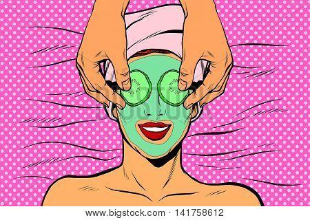 Woman with fruit beauty mask, pop art retro vector illustration