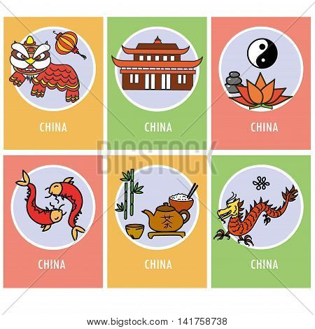 Set china card or icons vector illustration