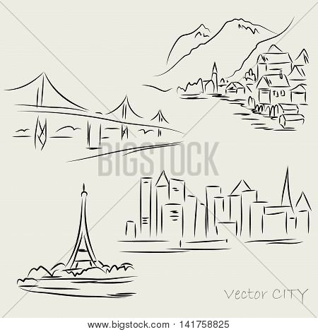 Silhouettes urban landscapes hand drawing vector illustration
