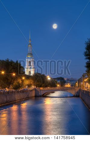 Night view on illuminated Kryukov Canal and St. Nicholas Naval Cathedral St. Petersburg Russia