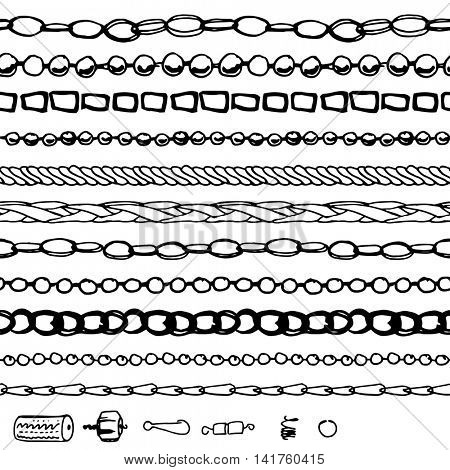 Set with chains, woman fashion. Contour, black and white.  Chains are endless, seamless horizontal pattern brushes.