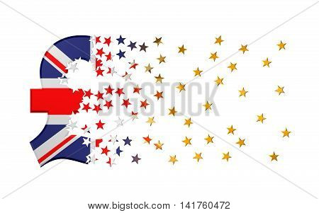 Pound Sterling Sign Falling Apart To Gold Stars Over White Background. 3D Illustration.