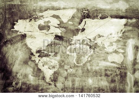 World Map On Old Grunge Board. World Map Concept, Elements Of This Image Furnished By Nasa