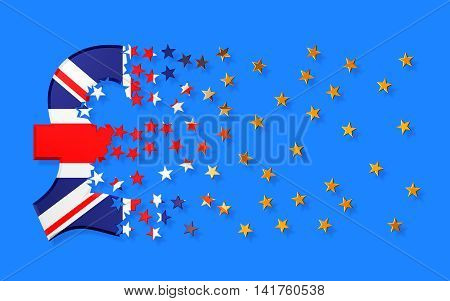 Pound Sterling Sign Falling Apart To Gold Stars. 3D Illustration.