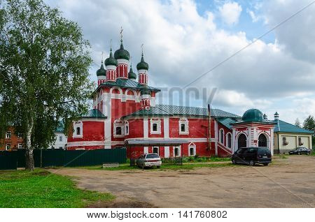 UGLICH RUSSIA - JULY 19 2016: Church of icon of Our Lady of Smolensk Epiphany Monastery Uglich Russia