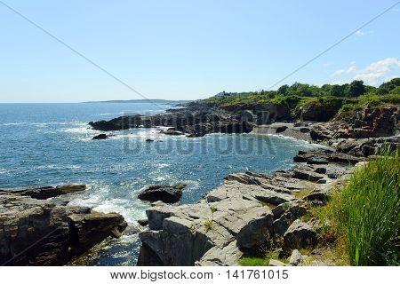 Rocky Coast at Casco Bay near Portland, Maine, USA.