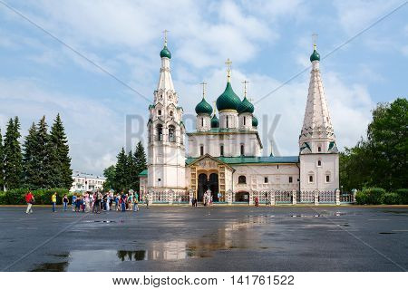 YAROSLAVL RUSSIA - JULY 21 2016: Unidentified people inspect Church of Elijah Prophet on Sovetskaya Square Yaroslavl Golden Ring of Russia