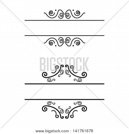 black vintage vignette frames set on white background