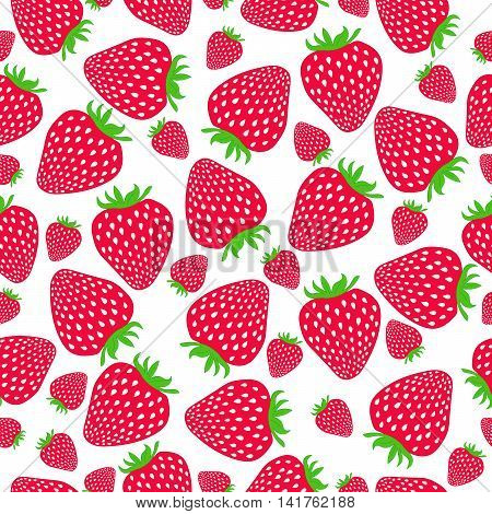 Seamless strawberries pattern. Sweet strawberries on white background. Vector illustration