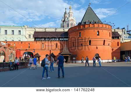 MOSCOW RUSSIA - JULY 23 2016: Unidentified people walk on Theater Square near famous prestigious restaurant