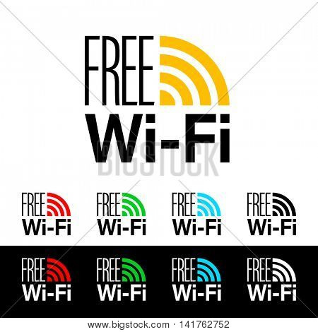 Free wifi icon symbol. Vector wifi sign with orange, red, green, blue and black wave signal icons.
