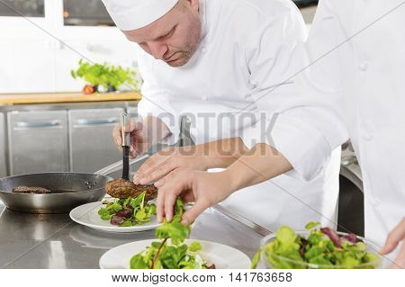 Professional chefs prepares beef meat dish in a professional kitchen at gourmet restaurant or hotel.