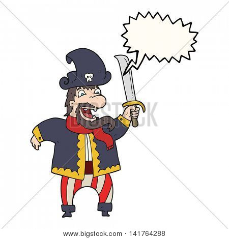 freehand drawn speech bubble cartoon laughing pirate captain