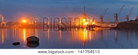 Tanker In The Port. Harbor At Night
