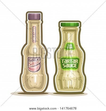 Vector logo Tartar and Garlic Sauce Bottles, container with white tartar sauce with green cap, glass bottle with garlic dressing close-up on white background, jar onion cream french cuisine for salad.