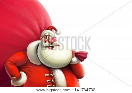 Santa with a big bag of gifts on the white background