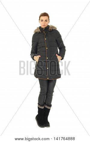 Beautiful woman in black winter coat isolated
