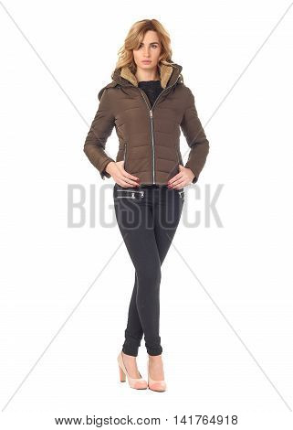 Beautiful woman in brown winter coat isolated