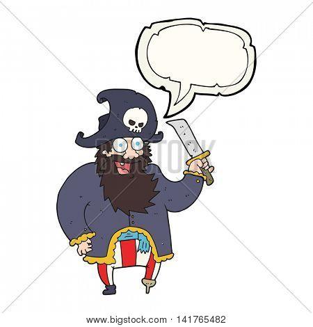 freehand drawn speech bubble cartoon pirate captain