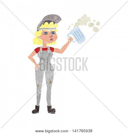 freehand retro cartoon hard working woman with beer