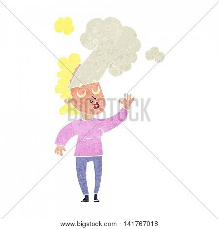freehand retro cartoon woman letting off steam