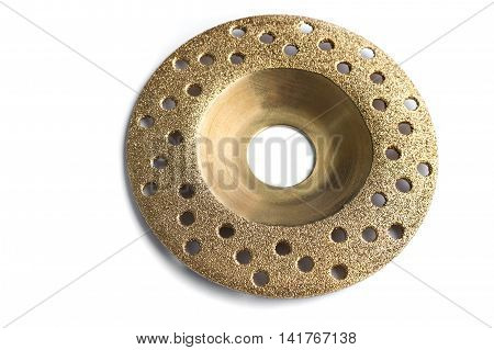 studded gold diamond blade on white background isolated