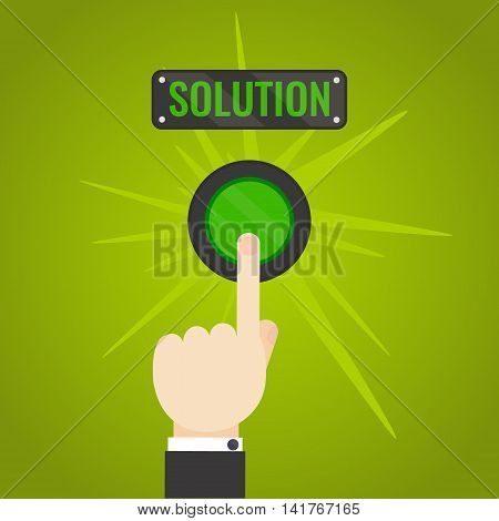 Businessman pressing solution button on green background. Start up business concept.  Touch, push or press symbol. Vector illustration.