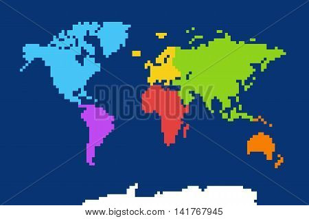 Colored world map. Pixel art vector illustration