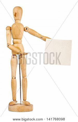 Wooden dummy holding handmade paper isolated on a white background