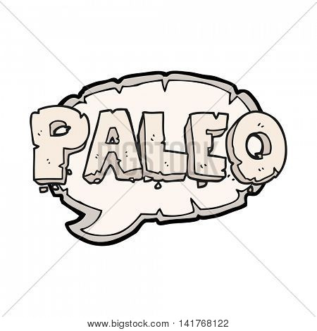 paleo freehand drawn cartoon sign