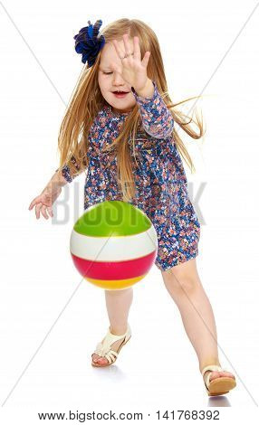 Plump little girl in short summer dress playing ball , the ball bounces from the floor-Isolated on white background