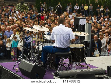 Lviv Ukraine - September 21 2014: Drummer Orchestra of the US Army during a charity concert at the central square in Lviv Ukraine.