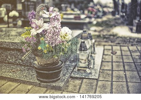Flovers On Tombstone In All Saints Day, Vintage Effect