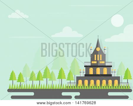 vector urban landscape with building and tree soaring in the sky.