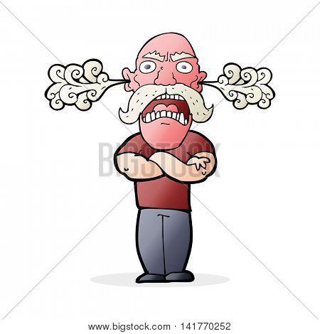 cartoon furious man with red face