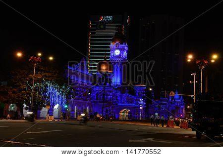 Kuala Lumpur/Malaysia - September 2012: Sultan Abdul Samad palace with night backlight in Kuala Lumpur, Malaysia.