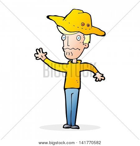 cartoon man in outback hat